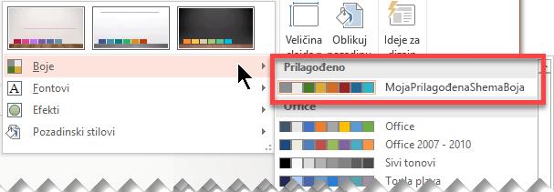 Kada definirate prilagođenu shemu boja, ona će se pojaviti na padajućem izborniku Boje