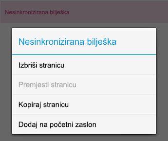 Izbornik bilješke u programu OneNote za Android
