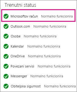 Stanje servisa Microsoftova računa