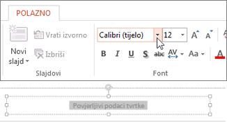 Promjena fonta podnožja