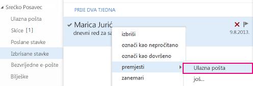 Izbornik pomoću kojeg se može oporaviti stavka iz mape Izbrisane stavke u web-aplikaciji Outlook Web App
