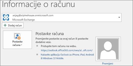 Snimka zaslona s prikazom stranice s informacijama o računu programa Outlook u prikazu Backstage.
