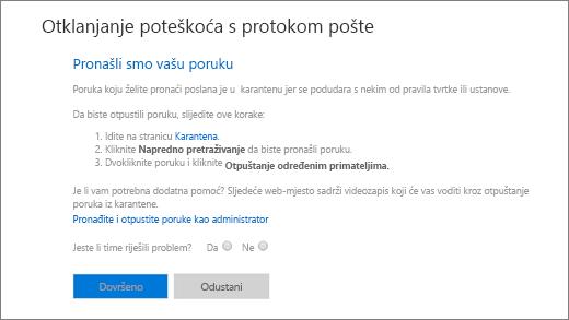 Snimka zaslona primjera rezultata u alatu za otklanjanje poteškoća s tijekom pošte.