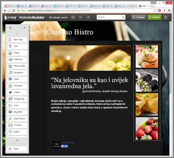 Primjer bočne trake u alatu za dizajn web-mjesta na servisu GoDaddy