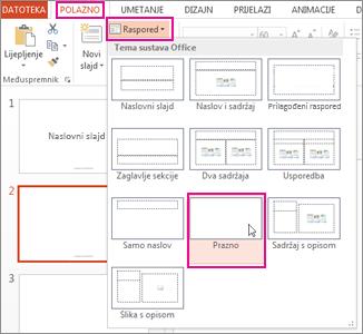 Ponovna primjena rasporeda promijenjenog u prikazu matrice slajda