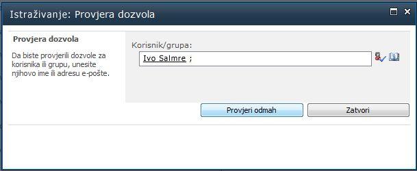 Upišite ime korisnika ili naziv grupe