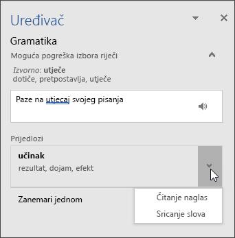 Okno zadatka Redaktor za provjeru gramatike