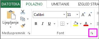 Gumb pokretača dijaloškog okvira Font