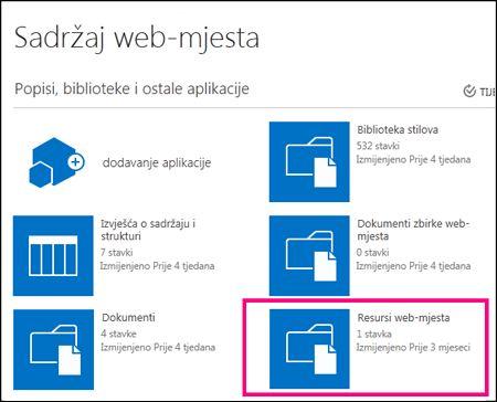 Stranica Sadržaj web-mjesta na jednostavnom web-mjestu u sustavu SharePoint Online s istaknutom pločicom Resursi web-mjesta