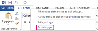 Sažimanje naredbe na vrpci kada desnom tipkom miša kliknite karticu na vrpci u programu Word 2013