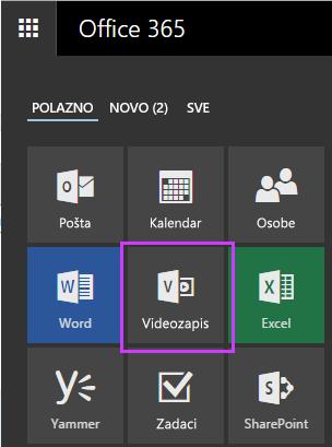 Pločica pokretača aplikacija O365 videozapisa