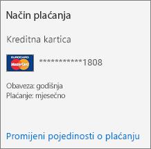 Odjeljak Način plaćanja na kartici Pretplata za pretplatu koja se plaća kreditnom karticom.