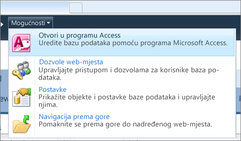 Izbornik Mogućnosti web-lokacije web-baze podataka u sustavu SharePoint