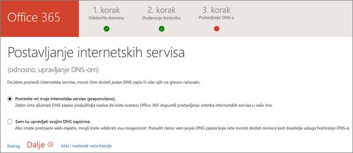 Postavljanje internetskih servisa