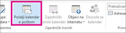 Kliknite Pošalji kalendar e-poštom na kartici Polazno