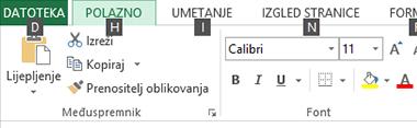 Excel 2013 Savjeti za tipke na vrpci