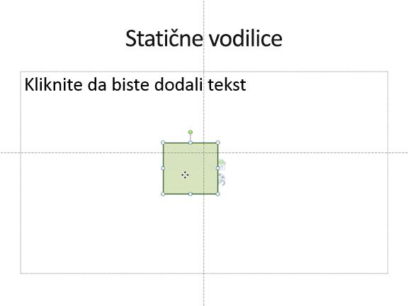 Statički vodoravna i okomita smjernice prikaz gdje se nalazi središta slajda