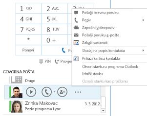 Snimka zaslona s provjerom govorne pošte u programu Lync