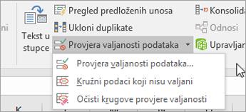 Izbornik Provjera valjanosti podataka