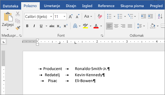 Primjer prikazuje tekst poravnat s pomacima tabulatora na ravnalu.