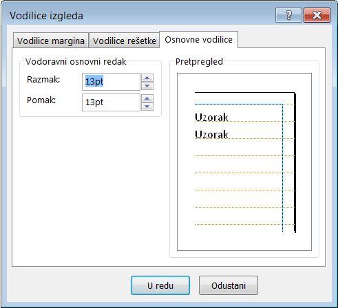 Dijaloški okvir Vodilice izgleda programa Publisher u kojem se prikazuje kartica Osnovne vodilice