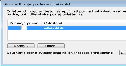 Snimka zaslona na kojem se dodaje ovlaštenik u programu Lync