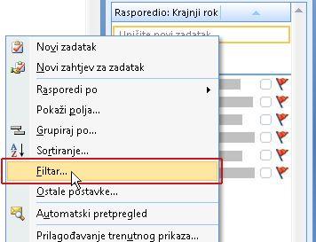 Naredba za filtriranje popisa obaveza