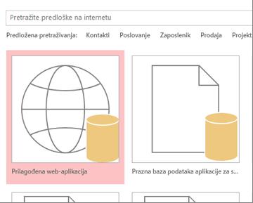 Gumb Prilagođena web-aplikacija na početnom zaslonu.