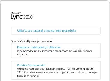 Slika prozora preglednika programa Lync