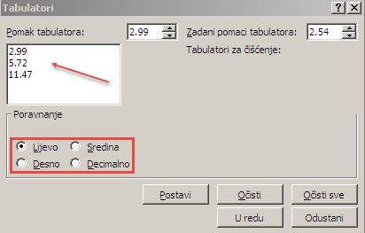 Dijaloški okvir Tabulatori.