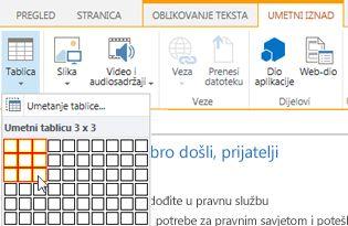 Umetanje tablice na javno web-mjesto sustava SharePoint Online