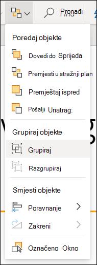 Izbornik rasporedi koji prikazuje grupne objekte