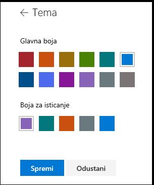 Prilagodba boje teme web-mjesta sustava SharePoint