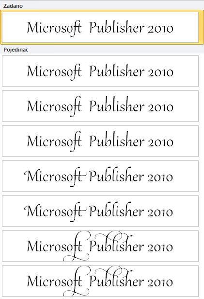 Stilski skup za naprednu tipografiju u OpenType fontovima u programu Publisher 2010