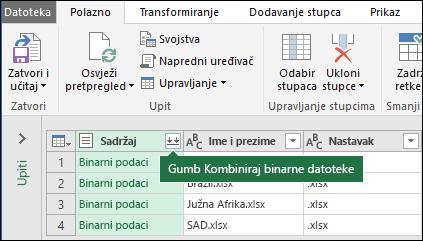 Pritisnite gumb kombiniranje binarne datoteke iz sadržaja stupac upita ili u odjeljku kombiniranje vrpcu dodatka Power Query