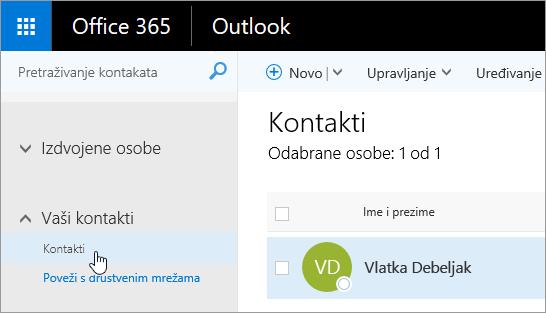 Snimka zaslona pokazivač iznad gumb kontakti na stranici osobe.