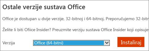 Snimka zaslona padajućeg popisa odaberite mogućnost da biste instalirali Office – 64-bitna verzija