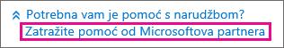Odaberite Pomoć Microsoftova partnera