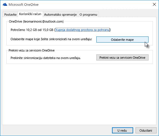 Prozor s postavkama servisa OneDrive na webu
