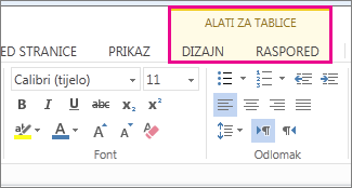 Slika kartica Dizajn i Raspored na vrpci Alati za tablice u web-aplikaciji Word Web App