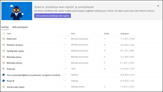 Stranice sadržaj web-mjesta sustava SharePoint