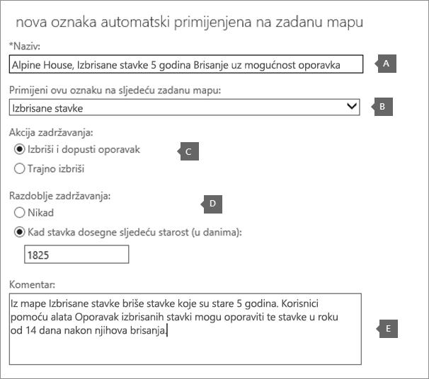 Postavke da biste stvorili novi Označi pravila zadržavanja za mapu Izbrisane stavke