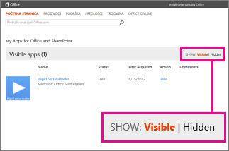 prikaz vidljivih ili skrivenih aplikacija za office