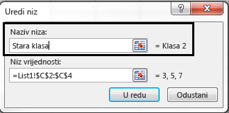U tekstni okvir Naziv niza unesite naziv legende pa kliknite U redu.