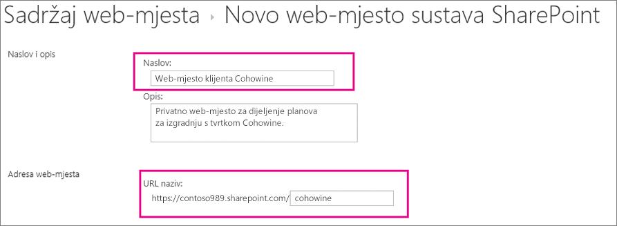 U okvir Naslov unesite naziv web-podmjesta, u URL okvir unesite naziv korisnika i dodajte ga URL-u web-mjesta.