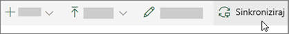 Alatna traka sustava SharePoint Online s odabranom mogućnošću sinkronizacije