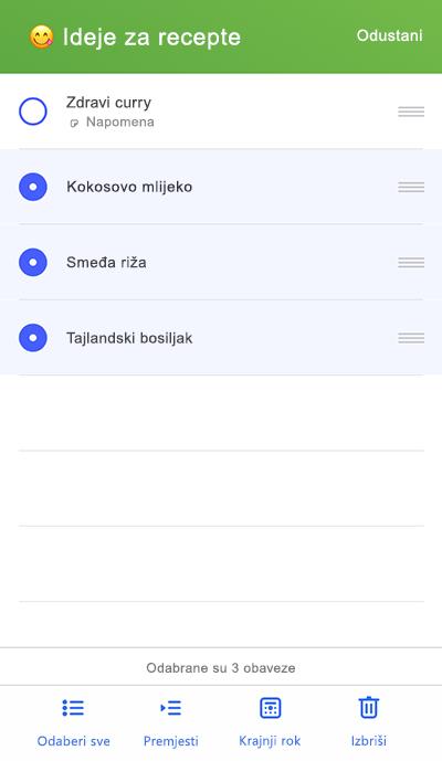 Snimka zaslona s prikazom za premještanje na izborniku u sustavu iOS