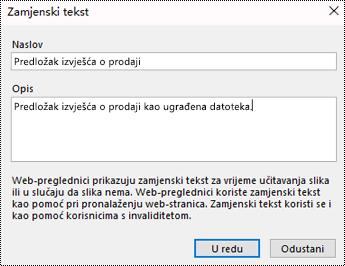 Dijaloški okvir za dodavanje zamjenskog teksta u ispis datoteke