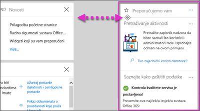 Akcije koje se prikazuju na miniaplikacije u sigurnost i koja se premješta ulijevo putem mogućnosti Cusomize na početnoj stranici centar za usklađenost