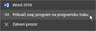 Odaberite Prikvači ovaj program na programsku traku